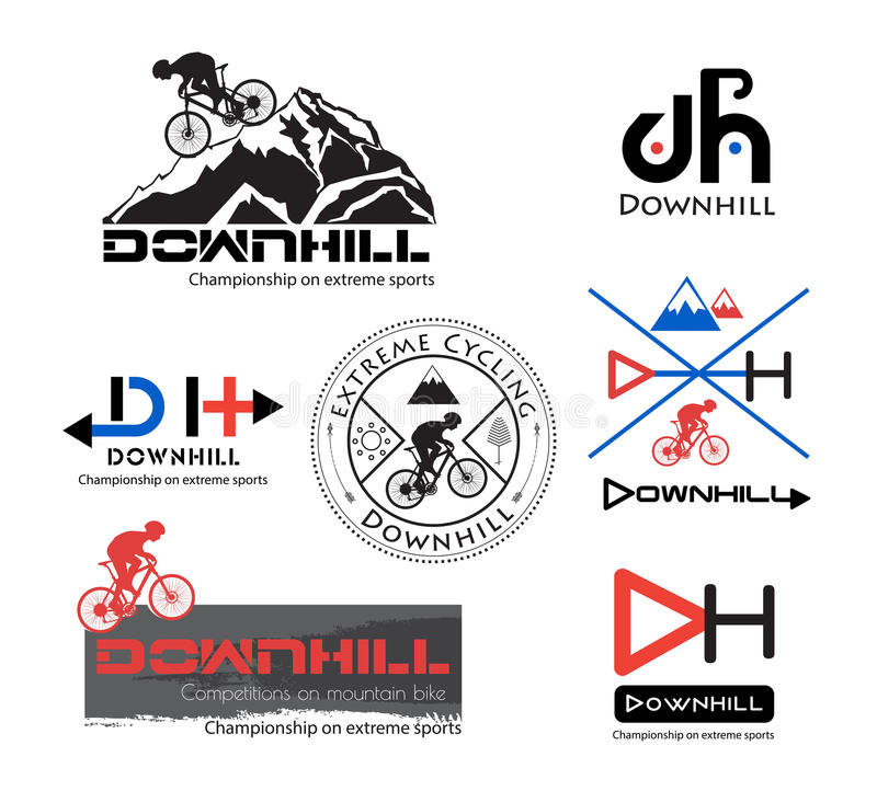 Logo Bike Downhill, logotipo do Mountain bike isolado ilustração stock