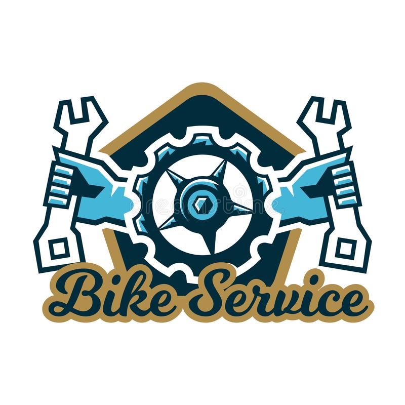 Logo bike service. A bicycle sprocket and hand holding a wrench on the sides. Repair, Tune mountain bike. Vector. Illustration. Flat style royalty free illustration