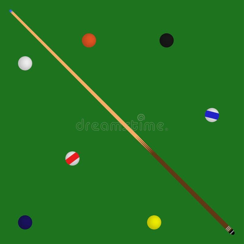 Logo Bilardowe piłki w zielonej basen wskazówce i stole royalty ilustracja