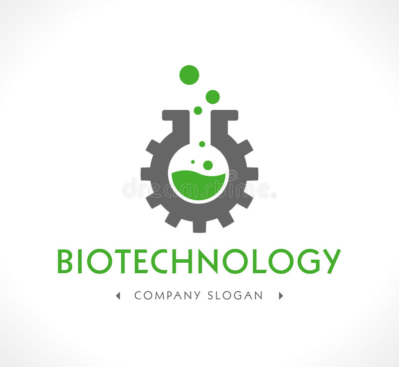 Logo - Biotechnology. Laboratory glass with gear vector illustration
