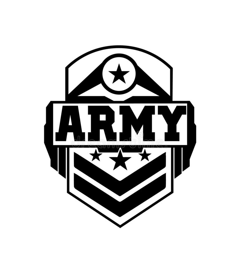 Army badge design black and white vector illustration