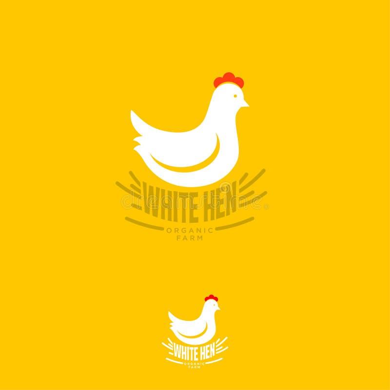 Logo blanc de poule Emblème organique de ferme Marque déposée de poulet organique Oiseau blanc dans le nid illustration stock