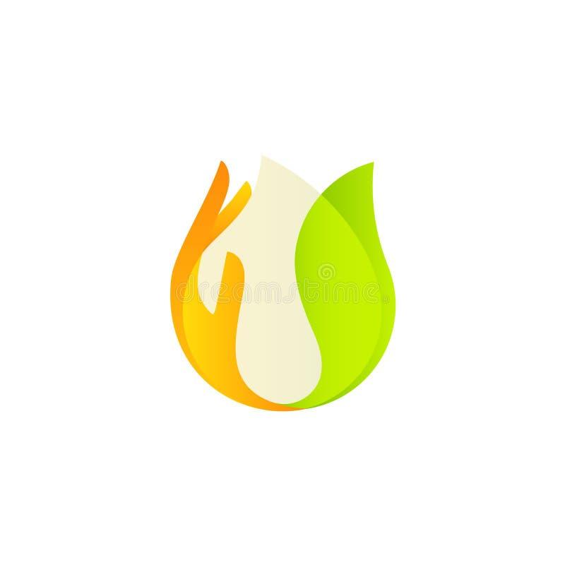 Logo blanc de vecteur de baisse Produit naturel organique, fait avec soin La feuille et la paume vertes vue ont soigneusement sou illustration de vecteur