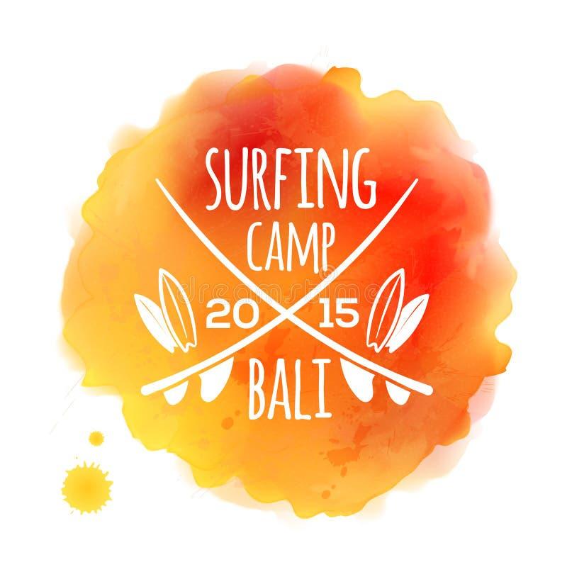 Logo blanc surfant de Bali de camp à l'orange illustration de vecteur
