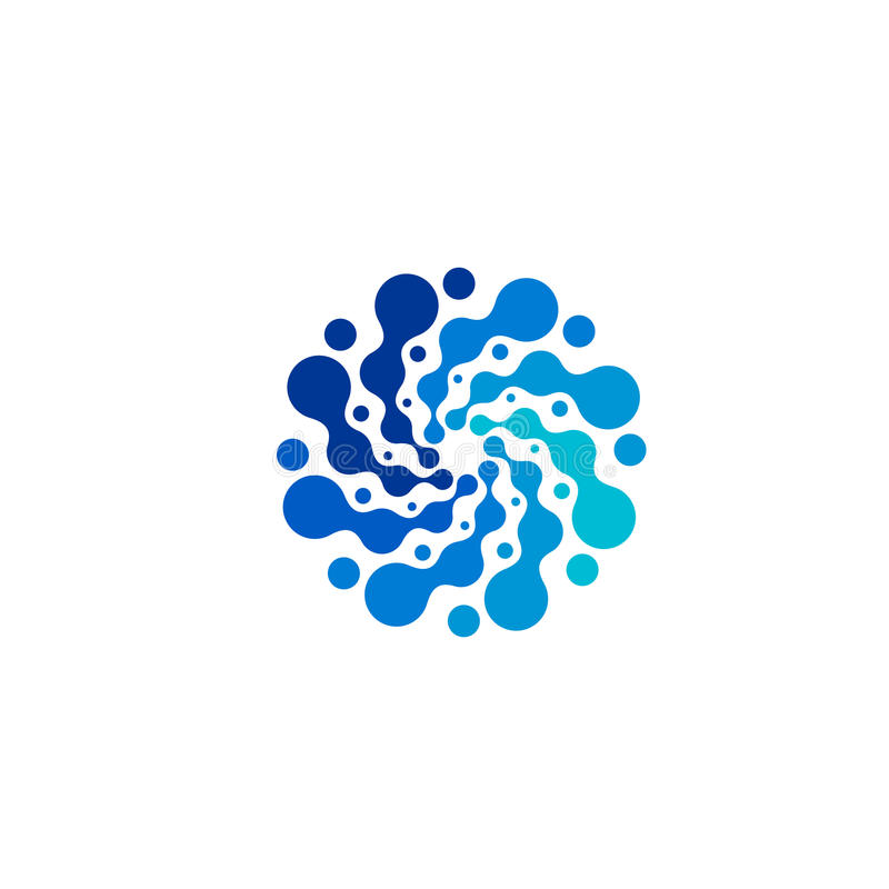 Logo bleu abstrait d'isolement de couleur de forme ronde, logotype pointillé, illustration de vecteur d'élément de remous de l'ea illustration libre de droits