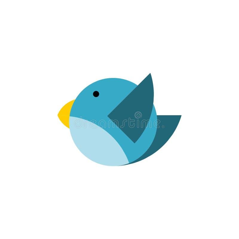Logo bleu d'icône d'oiseau de vecteur images libres de droits