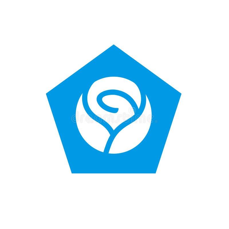 Logo bleu de forme de Rose et du Pentagone, conception d'illustration de vecteur d'icône de fleur illustration stock