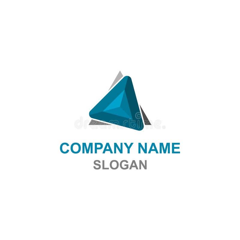 Logo bleu et gris abstrait de triangle illustration stock