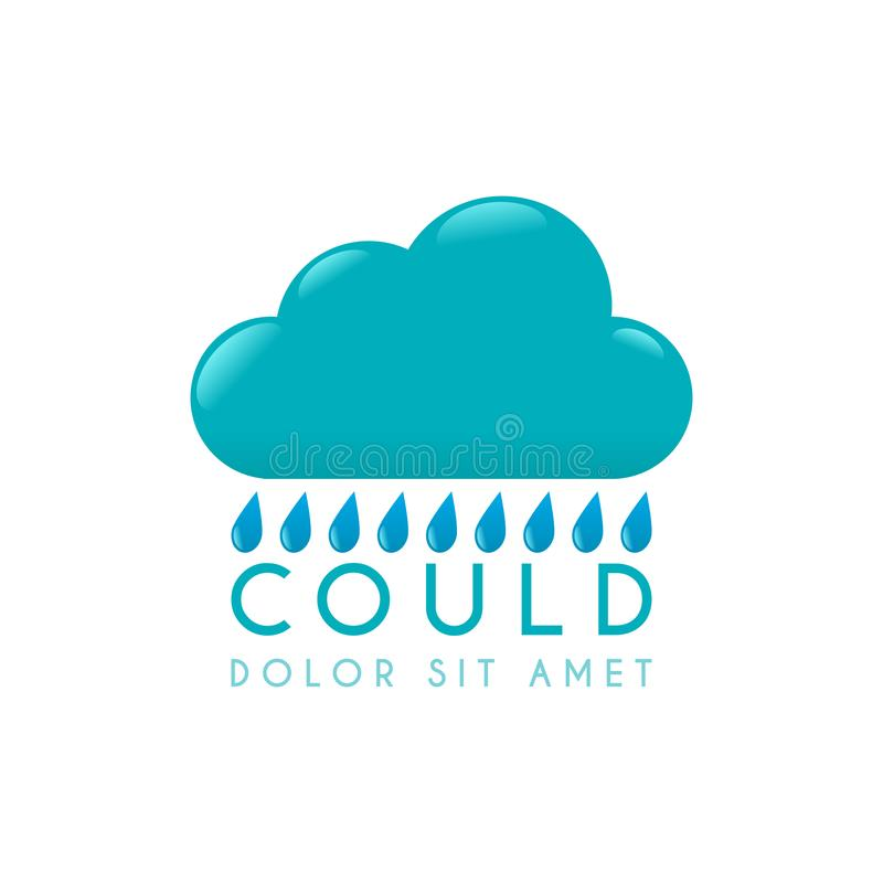 Logo bleu et vert de nuage de pluie illustration libre de droits