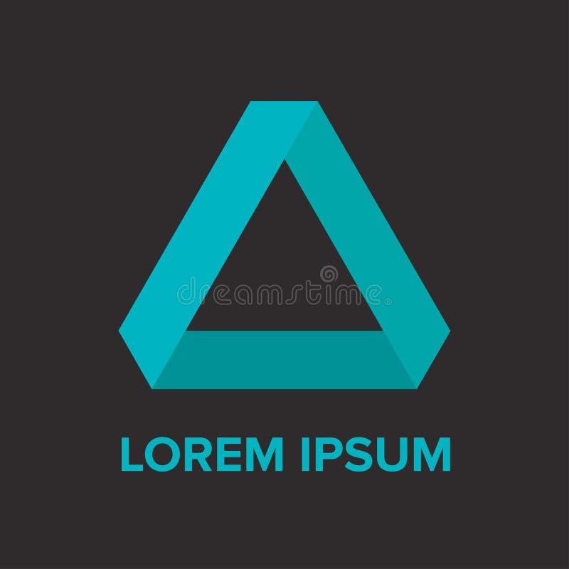 Logo bleu-foncé de triangle de gradient abstrait image stock