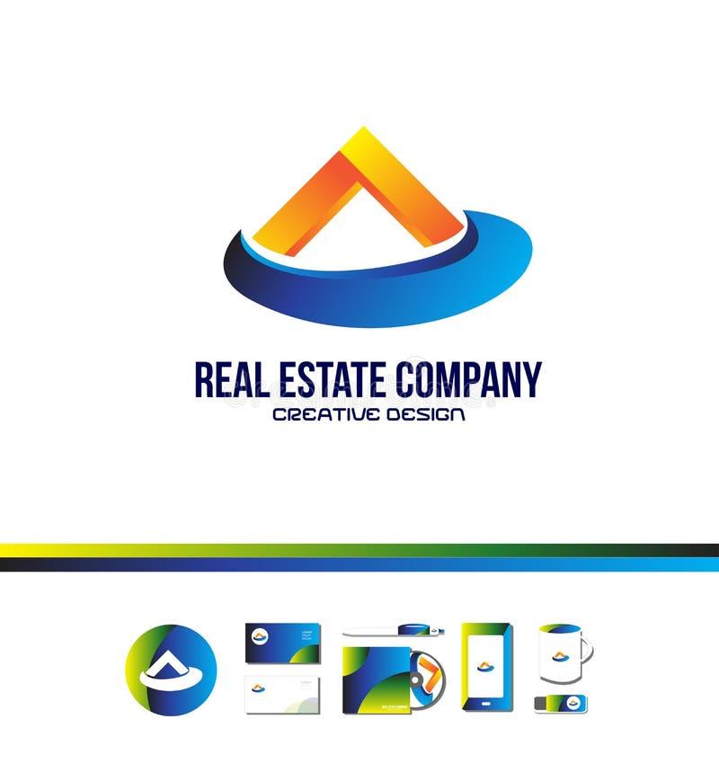 Logo bleu orange de maison d'immobiliers illustration libre de droits