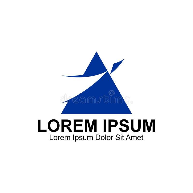 Logo bleu simple d'aviation de triangle illustration de vecteur