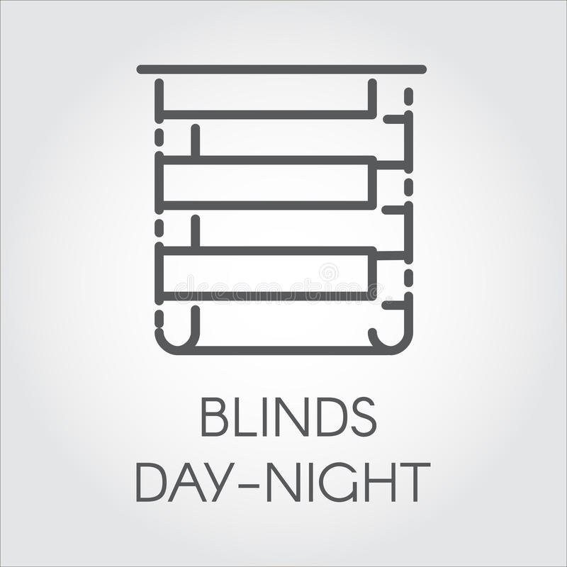 Logo of blinds day-night. Icon drawing in outline style. Vector graphic label. Simple line logo of blinds day-night. Pictograph for home and office interior royalty free illustration