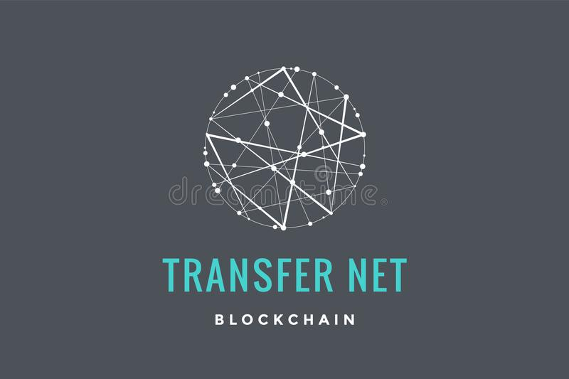 Logo for blockchain technology. Circle with connected lines for brand of smart contract block symbol. Graphic design for decentralized transactions and stock illustration