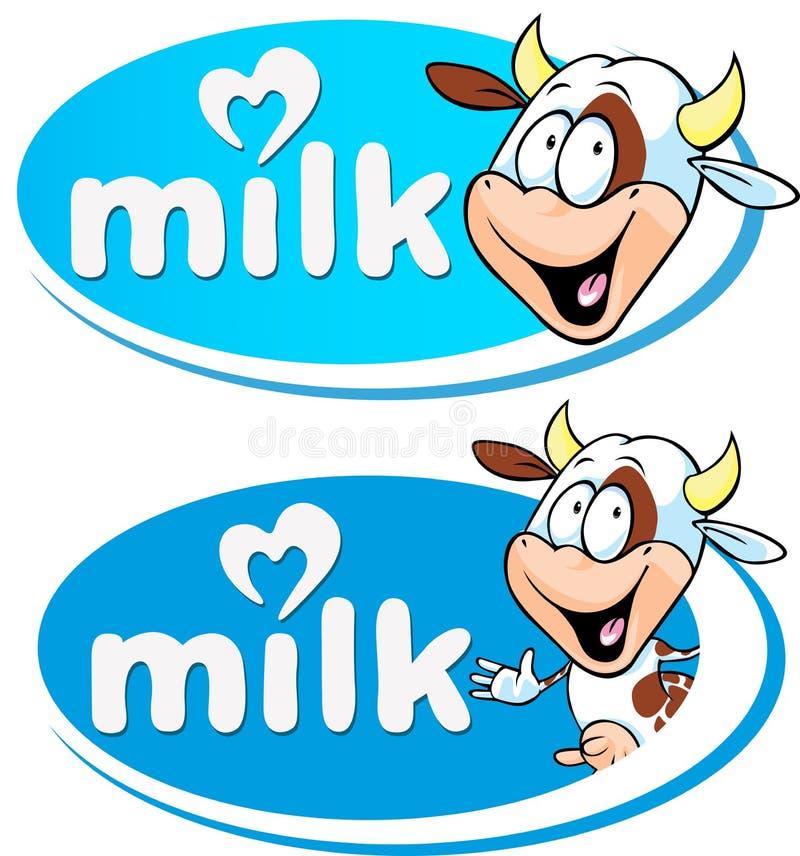 Logo blu del latte di vettore con la mucca illustrazione vettoriale