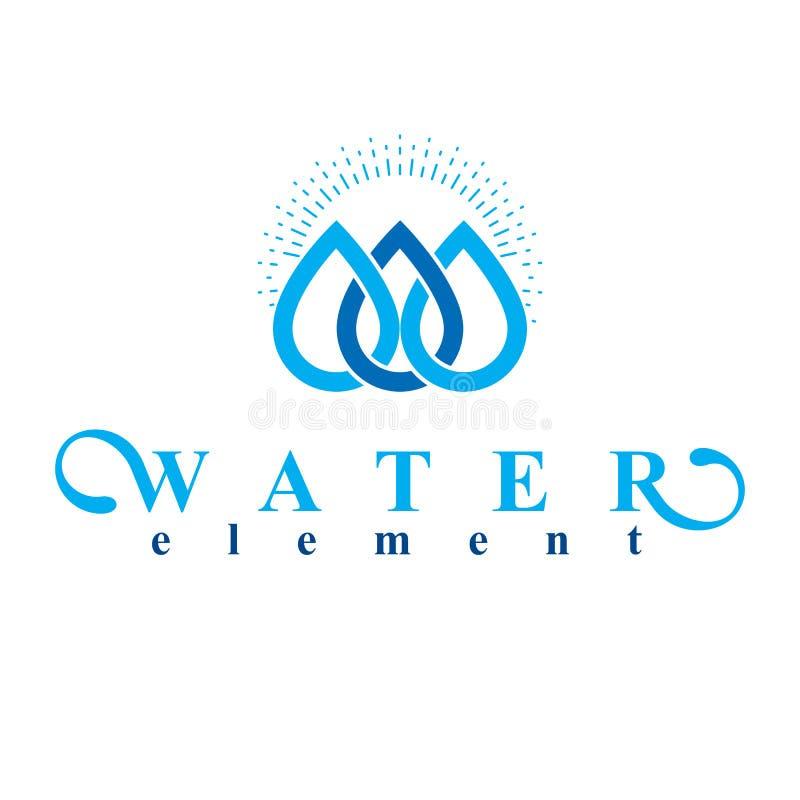 Logo blu della goccia di acqua di vettore chiaro per uso come emblema di affari dentro royalty illustrazione gratis