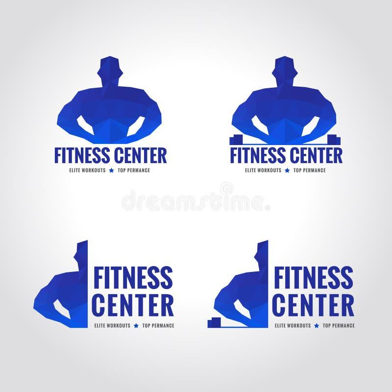 Logo blu di tono di sport del centro di forma fisica royalty illustrazione gratis