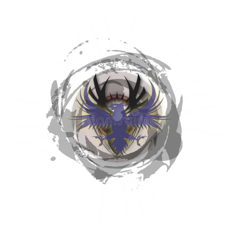 Logo blu scuro turbolento tribale di Phoenix fotografie stock libere da diritti