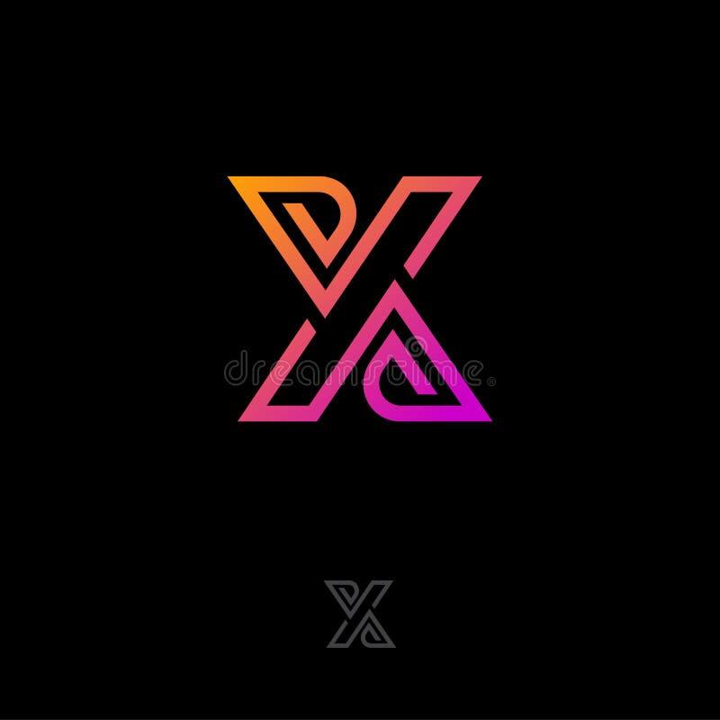 logo x X-bokstavsmonogrammet att best? av fl?tat samman, korsade best?ndsdelar Plant linj?rt stilemblem stock illustrationer