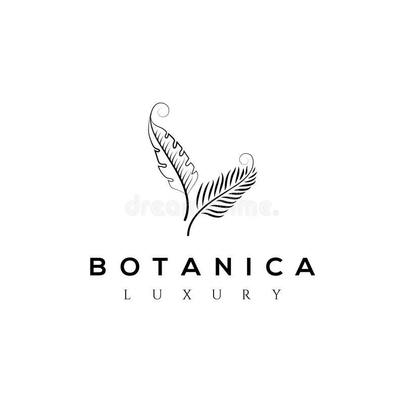 Logo botanique de vecteur Monogramme de luxe de lettre Identité de marque de mode Conception d'or de logo d'usine de feuilles Emb illustration de vecteur