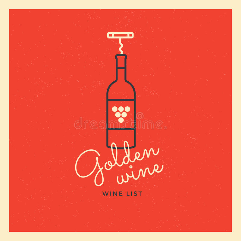 The logo with a bottle of wine and a corkscrew on a red background. Logo template for branding design. stock illustration