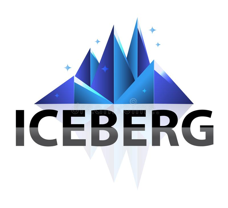 Logo brillante basso geometrico dell'iceberg dell'estratto moderno creativo poli Illustrazione piana di stile nel fondo bianco is illustrazione vettoriale