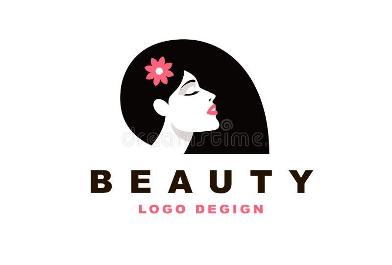 Logo brunette girl, Barber and fashion vector illustration