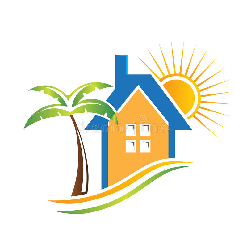 Logo Bungalow. In a sunny day stock illustration