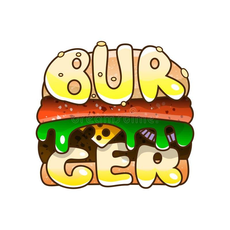 Logo Burger Bolo do sésamo para o café e o takeaway do fast food ilustração royalty free
