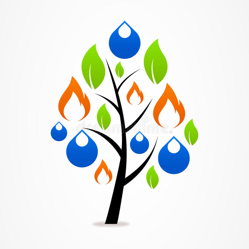 Logo business abstract tree drop fire leaf royalty free illustration