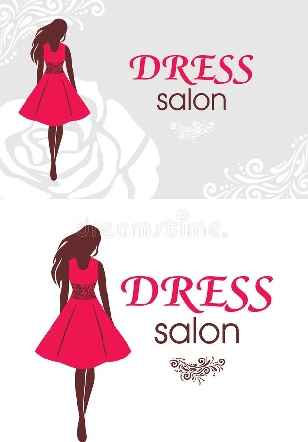 Logo and business card for dress salon royalty free stock images