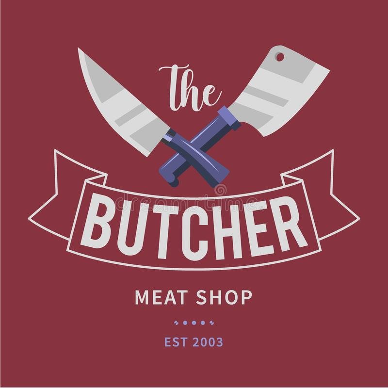 Logo of Butcher meat shop with Cleaver and Chefs knives, text the Butcher, Meat shop. Logo template for meat business - vector illustration