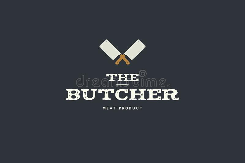 Logo of butcher with picture of two kitchen hatchet. Design elements for meat stores, packaging and advertising. vector illustration
