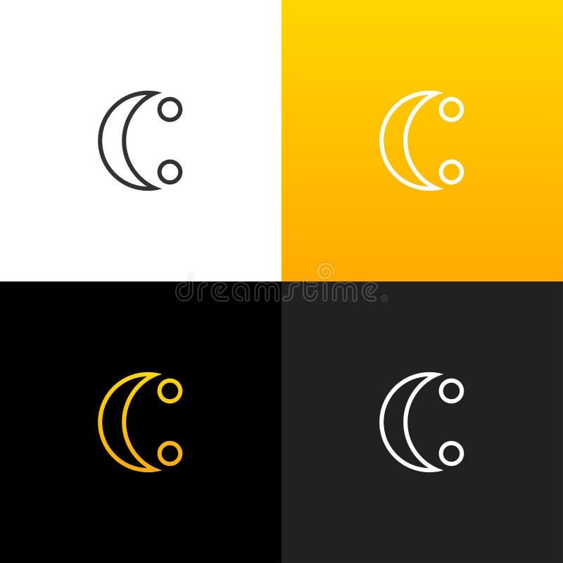 Logo C med två prickar Linjär logo av bokstaven c för företag och märken med en gul lutning vektor illustrationer