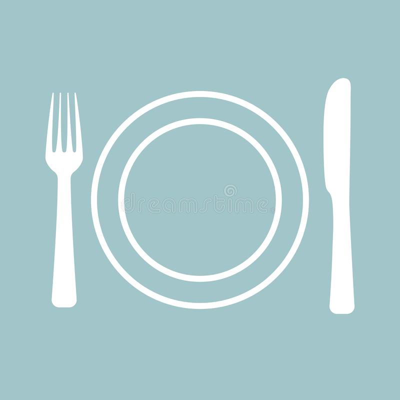 Logo for cafe with fork and spoon royalty free illustration