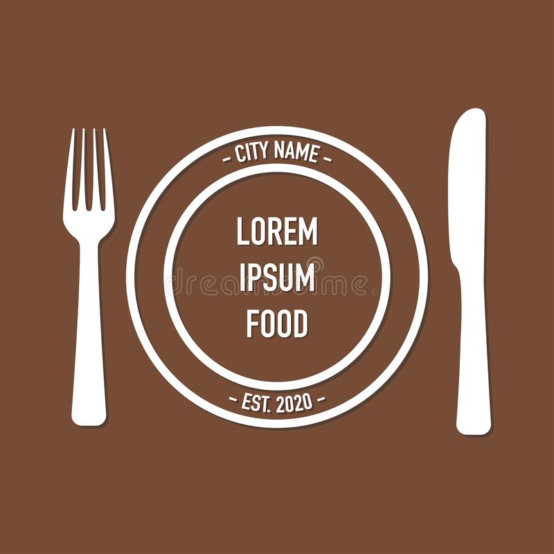 Logo for cafe with fork and spoon stock illustration