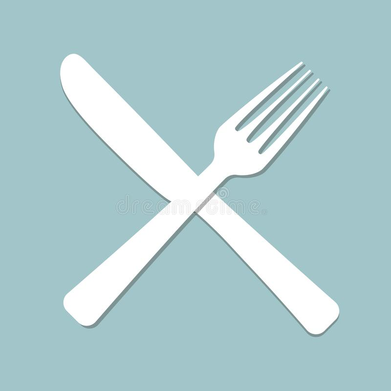 Logo for cafe with fork and spoon vector illustration
