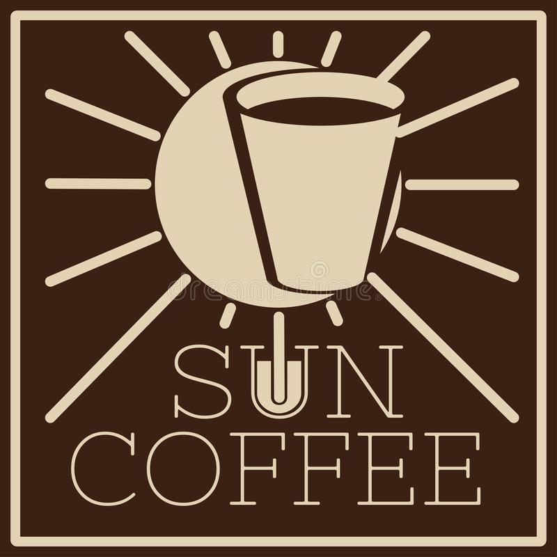 Logo of cafe with sun and glass royalty free stock photo