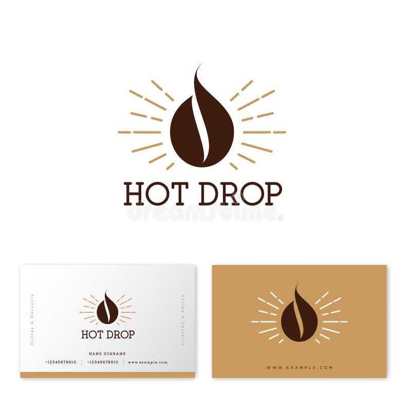 Logo caldo di goccia del caffè Emblema del caffè Goccia del caffè, come il chicco di caffè con i raggi di sole dell'oro illustrazione di stock
