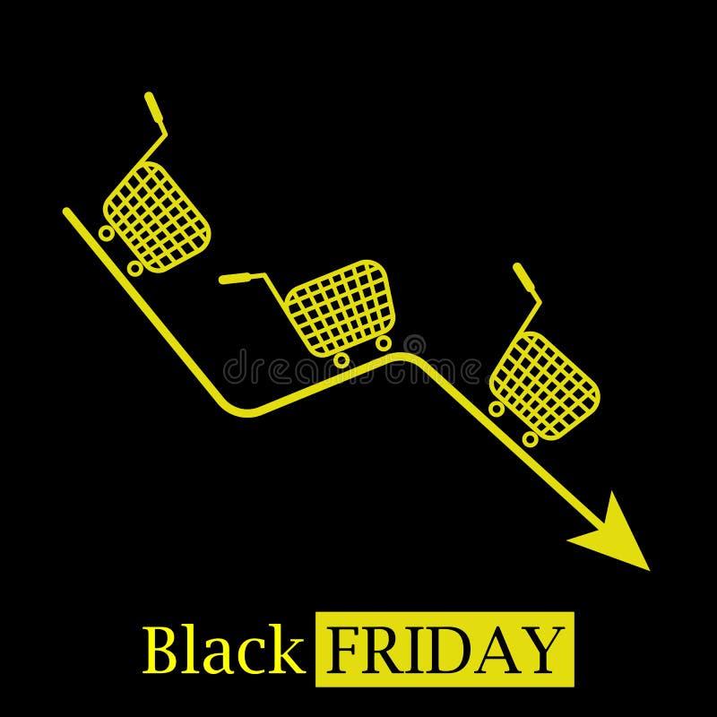 Logo caldo nero dell'icona di concetto di vendite di venerdì con i carrelli illustrazione di stock