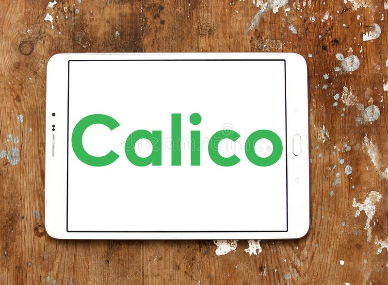Calico biotech company logo. Logo of Calico company on samsung tablet. Calico is a research and development biotech company backed by Google with the goal of royalty free stock photography