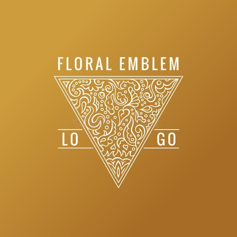 Logo calligrafico del triangolo Linee ornamento dell'oro dell'etichetta Progettazione decorata d'annata della cartolina d'auguri  illustrazione di stock