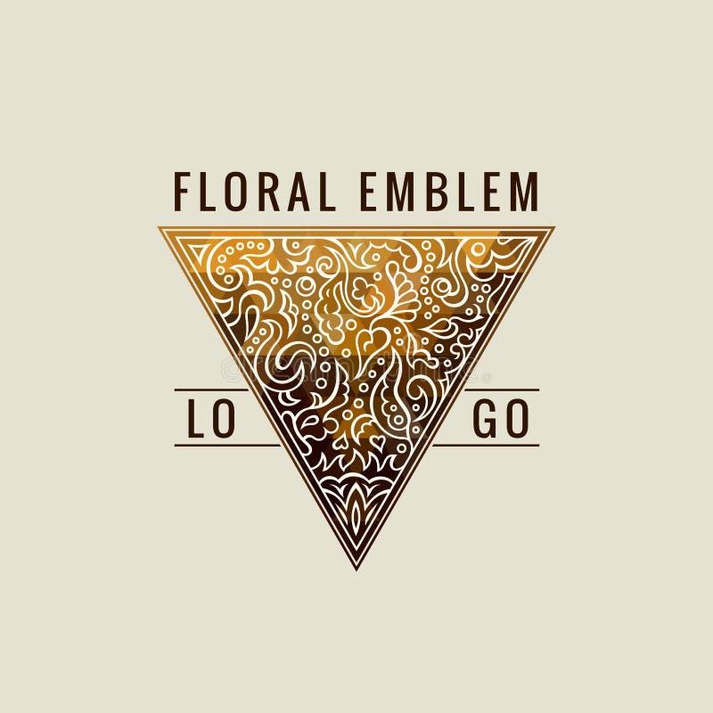 Logo calligraphique de triangle Lignes ornement d'or de label Design de carte fleuri de salutation de vintage de luxe d'emblème d illustration stock