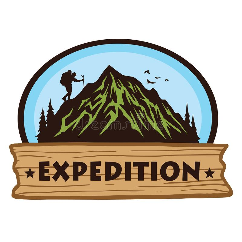 Logo for Camping Mountain Hiking Adventure, Emblems, and Badges. Camp in Forest Vector Illustration Design Elements Template. Logo for Camping Mountain Hiking vector illustration