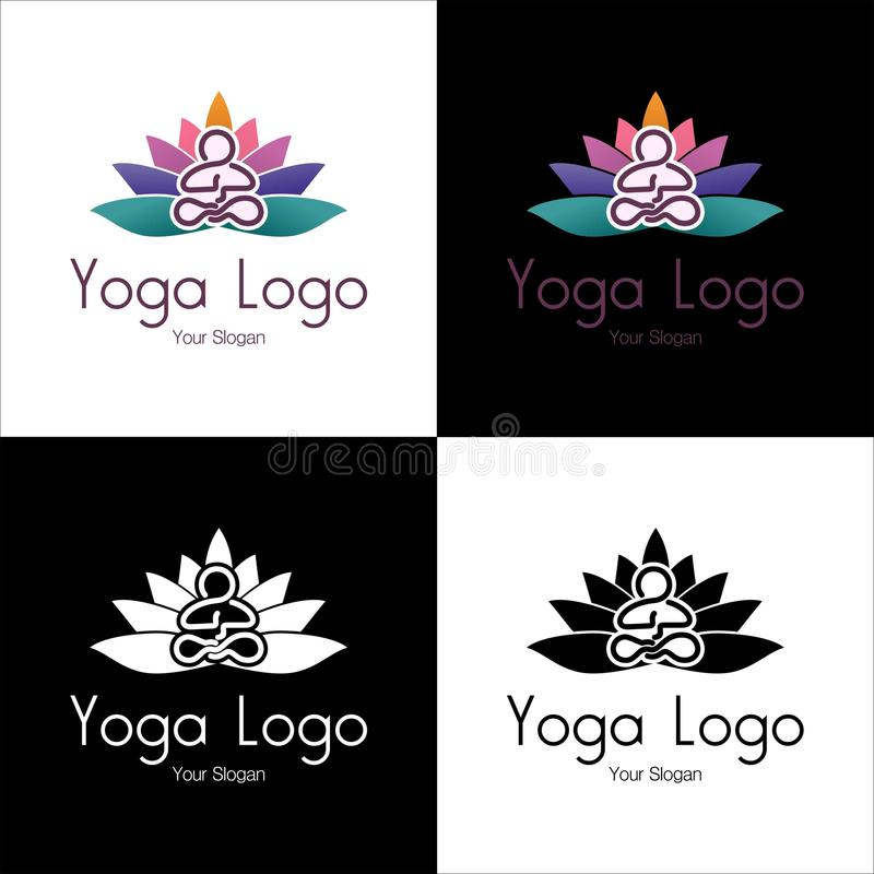 Logo of relax industries, medititation, yoga, and sport. with place text stock photography