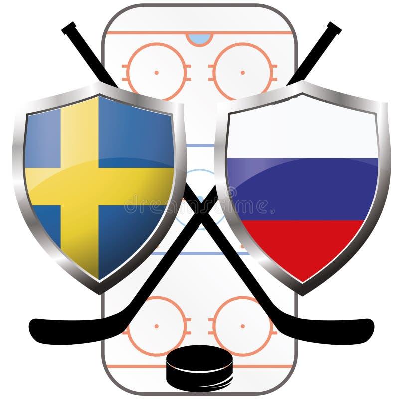 Logo Canada dell'hockey contro la Russia illustrazione vettoriale