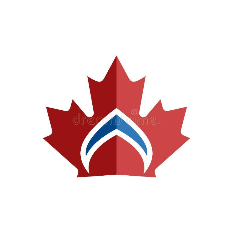 Logo canadese dell'elemento di simbolo della corona della foglia illustrazione vettoriale