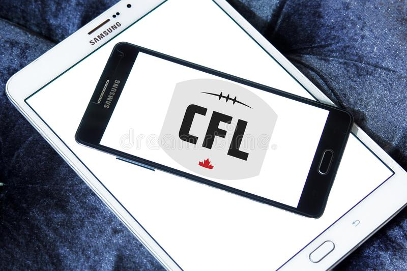 Canadian Football League, CFL logo. Logo of Canadian Football League, CFL on samsung mobile. CFL is a professional sports league in Canada. The CFL is the stock photos
