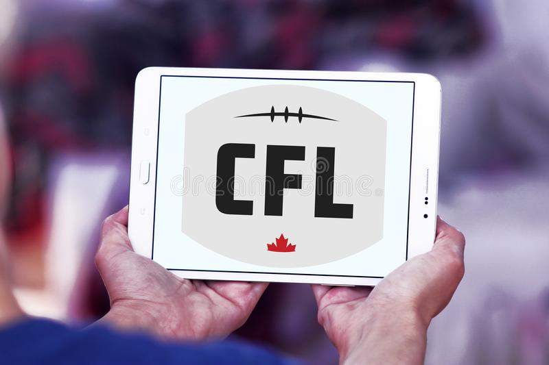 Canadian Football League, CFL logo. Logo of Canadian Football League, CFL on samsung tablet. CFL is a professional sports league in Canada. The CFL is the royalty free stock photography