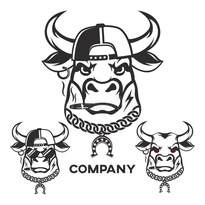 Logo capo del toro diabolico Illustrazione di vettore illustrazione vettoriale